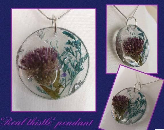 Real thistle pendant with foliage encased in resin