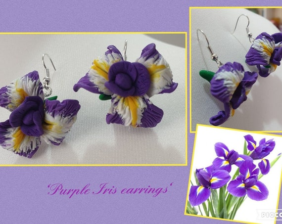 Purple Iris dangle earrings