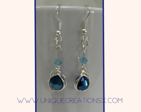 Swarovski crystal faceted earrings in shades of blue