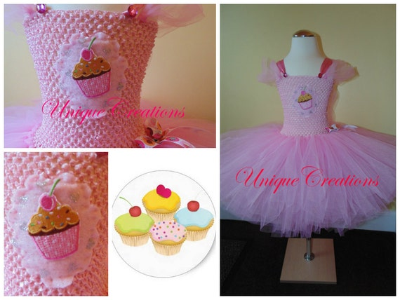 Cupcake tutu dress with 6 layers of tulle and embroidered patch