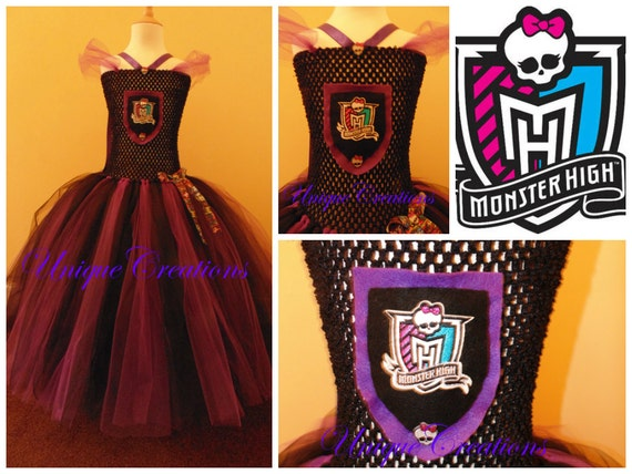 Monster High inspired tutu dress with 4 layer of tulle embroidered patch and Monster high ribbon
