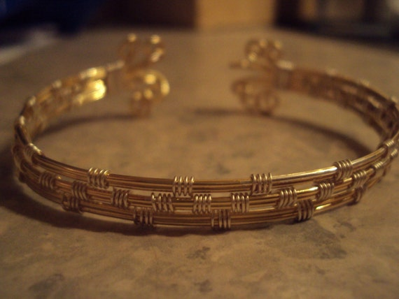 Gold and silver plated wire wrapped cuff bangle