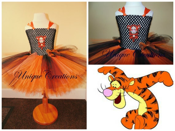 Tigger inspired tutu dress with 6 layers of tulle and embroidery patch