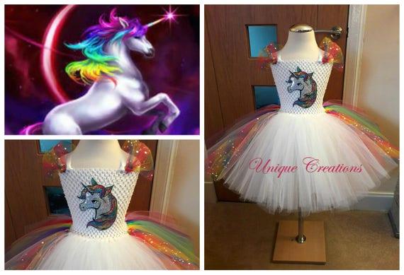Rainbow unicorn tutu dress