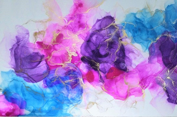 Beautiful contemporary abstract alcohol ink piece. Framed or unframed.One of a kind.
