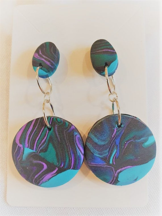 Large statement earrings in fimo clay and silver