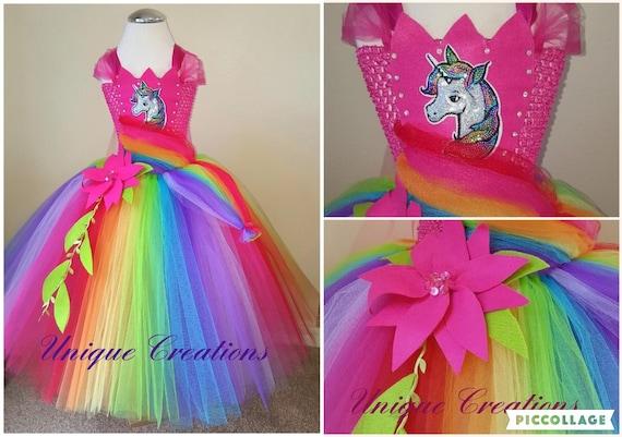 Beautiful bright rainbow unicorn dress