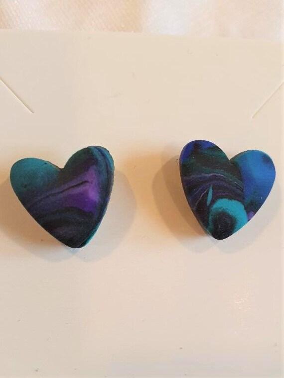 Heart stud earrings in fimo clay