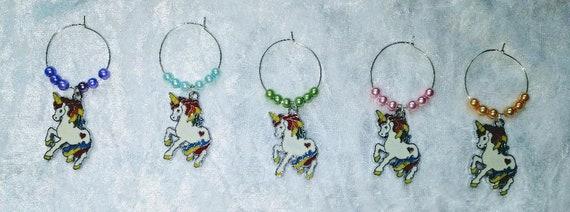 Unicorn wine glass charms. Set of 5