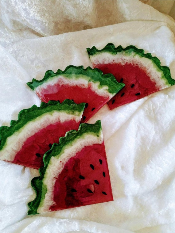 Watermelon inspired coasters set of 4