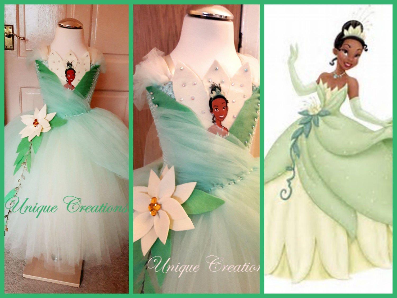 Princess Tiana \'The frog princess\' inspired long tutu dress