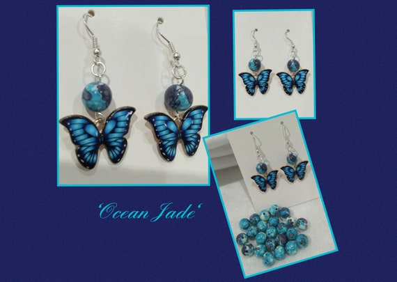 Ocean Jade and butterfly earrings