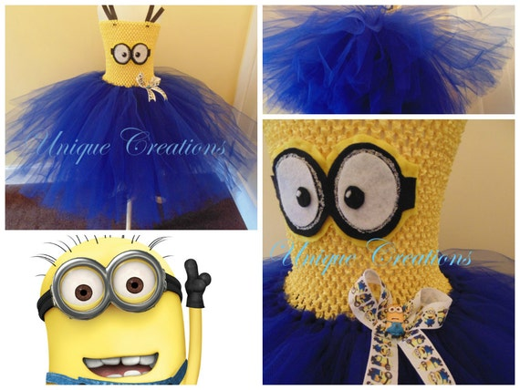 Minions inspired tutu dress with 6 layers of tulle, very full, minions ribbon and embellishment