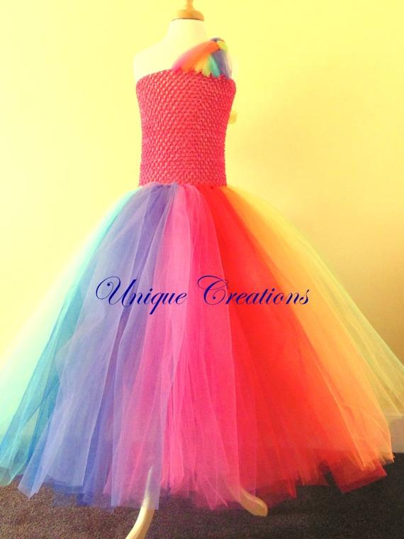 Rainbow colour longer tutu dress, beautiful and colourful