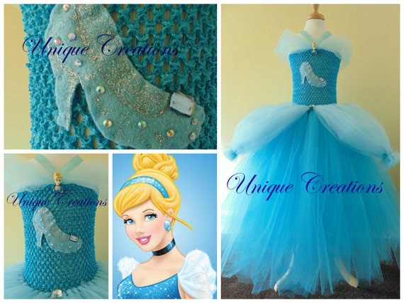 Cinderella inspired tutu dress with 6 layers of tulle, crystals on shoe and embellishments