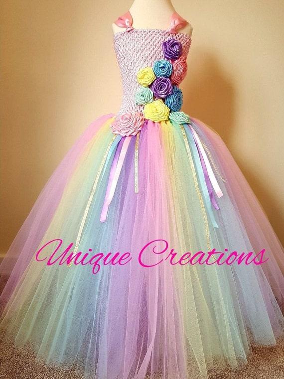Beautiful pastel  enchanted unicorn and rose long tutu dress