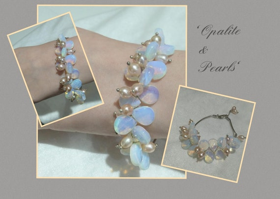 Stunning opalite and pearl bracelet