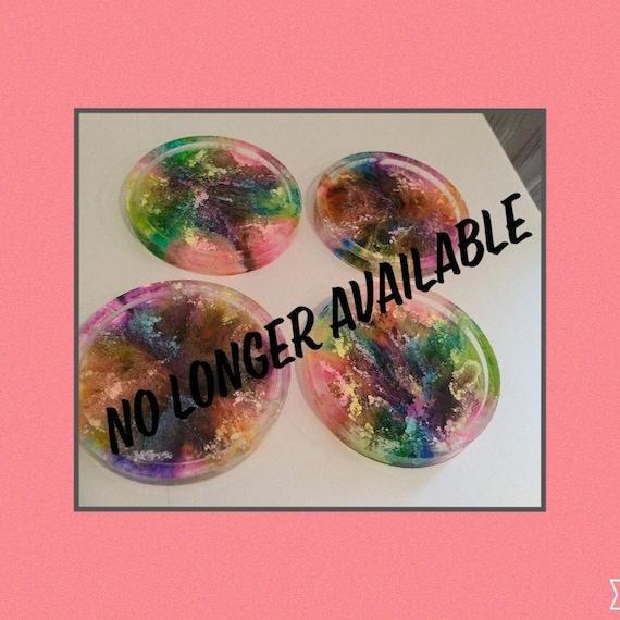Petri dish style coasters using alcohol inks