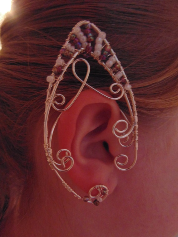 Elf/Elven/Fairy ear cuff, using seed beads and silver jewellery wire