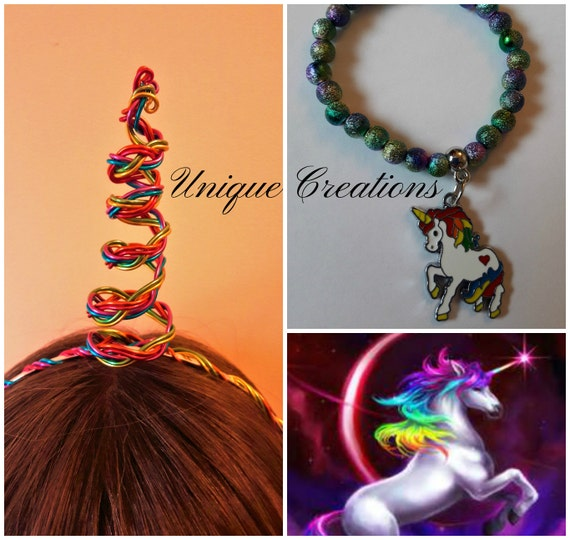 Unicorn wire wrapped rainbow horn and beaded charm bracelet