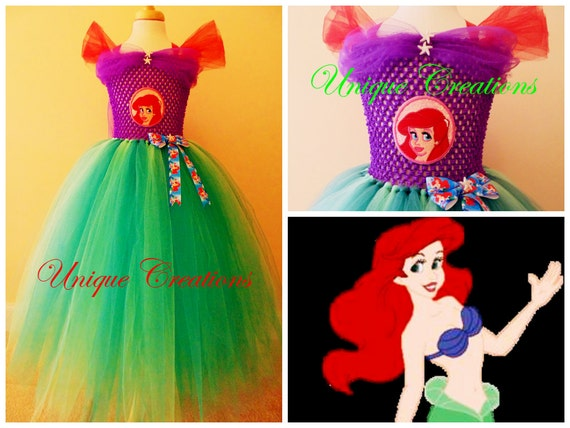 Ariel the little mermaid inspired long tutu dress for age 0,1,2,3,4,5,6,7,8,9,10