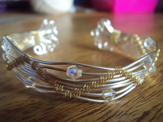Gold and silver plated semi precious wire cuff bangle with genuine swarovski crystals