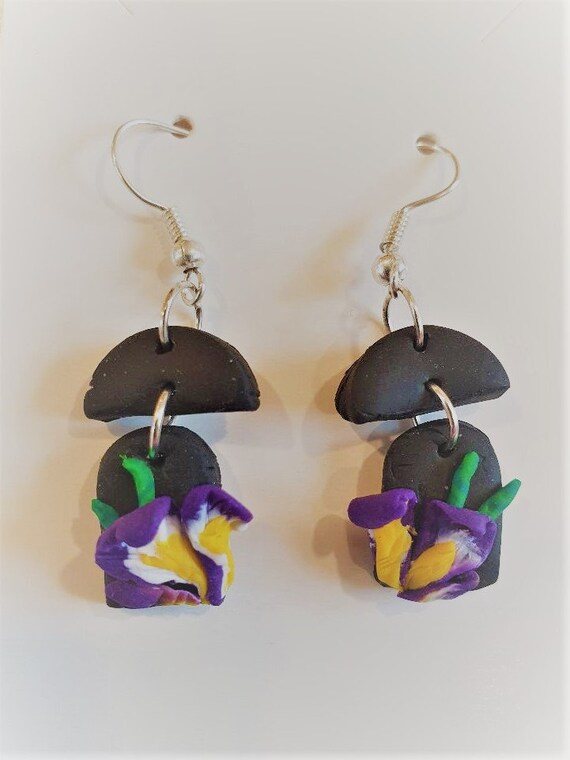 Purple iris flower dangle earrings using fimo clay