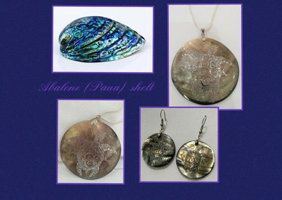 Abalone shell turtle earrings and necklace in silver