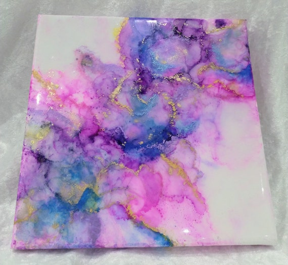 Beautiful abstract contemporary alcohol ink painting