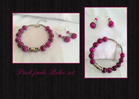 Pink jade bohemian/boho jewellery set