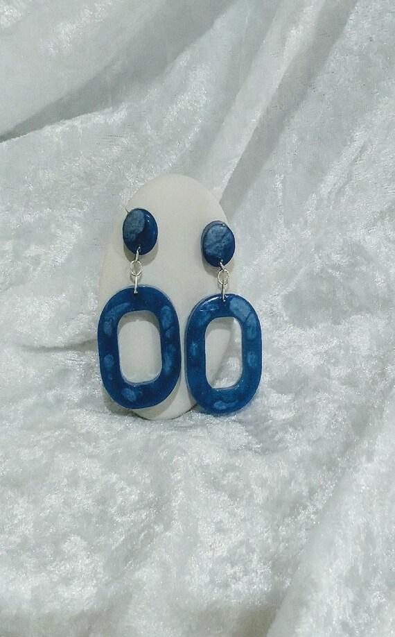 Blue & White resin door knocker style earrings