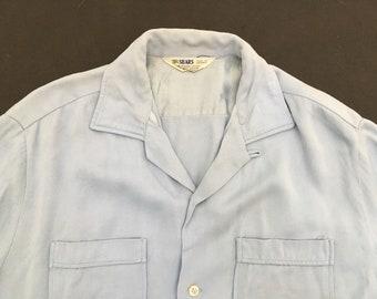 1950s Rayon Gabardine Shirt Size M