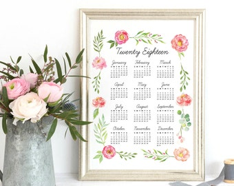 2018 Calendar Wall, Large 2018 Wall Calendar, Year at a Glance 2018 Yearly Planner, 2018 Year Calendar