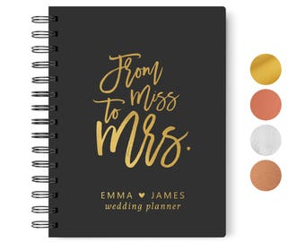 Wedding planner book etsy from miss to mrs wedding planner book black and gold personalized wedding planner book wedding planning book 55 x 85 inches design 006 junglespirit Gallery