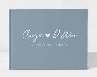 Wedding Guest Book | Dusty Blue | Heart Guest Book | 100 Pages | Color Choices Available | Design: PBL109