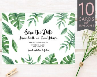 Greenery Save the Date, Greenery Save Date, Watercolor Save Date, Tropical Save the Date, Printed Save the Date (10 Cards & Envelopes)