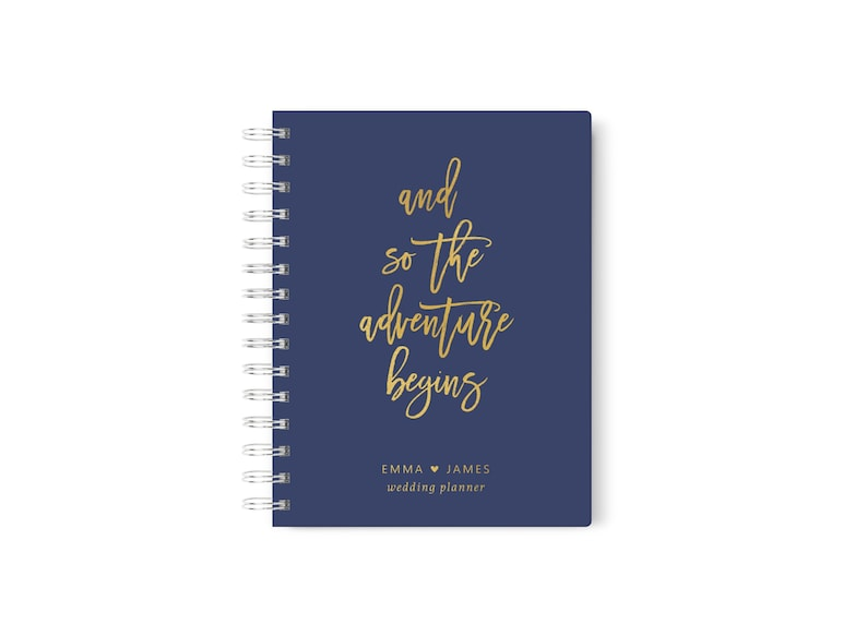 And so the Adventure Begins Wedding Planner Navy and Gold image 0