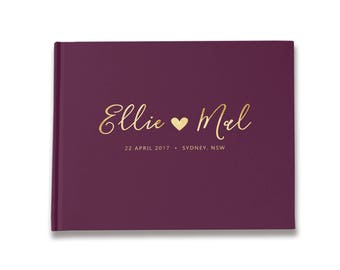Wedding Guest Book Personalised, Gold Foil Guest Book, Plum Unique Wedding Guestbooks, Color Choices Available,  GB 109