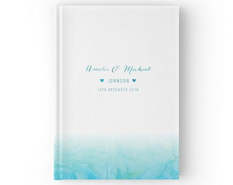 Beach Wedding Guest Book, Summer Wedding Turquoise Blue, Watercolour Guest Book, Color Choices Available, GB 047