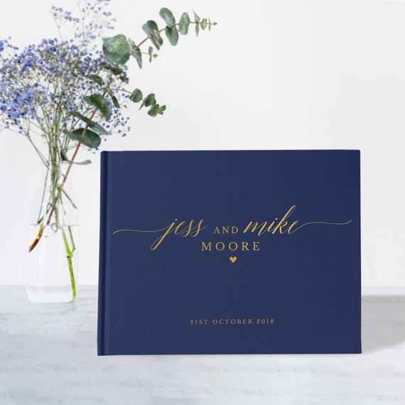 Navy and Gold Guest Book