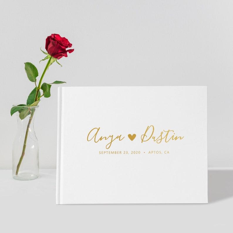 Wedding Guest Book Unique Wedding Guest Books Gold Foil image 0