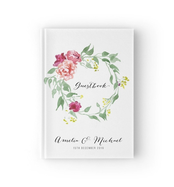 Personalisierte Gastebuch Hochzeit Blumen Aquarell Hochzeit Etsy
