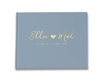 Wedding Guest Book, Wedding Guestbook, Gold Foil Guest Book, Dusty Blue Unique Wedding Guestbooks, Color Choices Available, GB 109