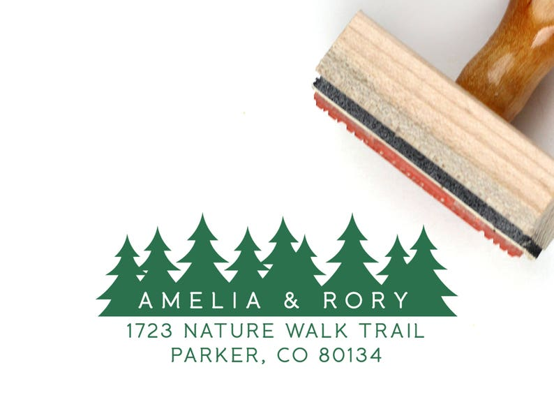 Pine Tree Stamp Return Address Self Ink Rustic 1 x 2.5 inches STA007 Return Address Stamp Tree