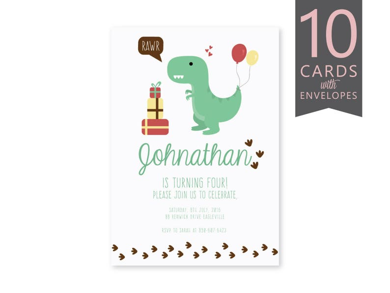 Dinosaur Birthday Invitation Digital Party