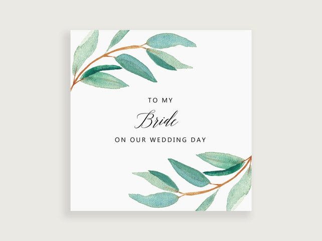 To My Wife Wedding Day Card Bride Gift From Groom Wife Gift
