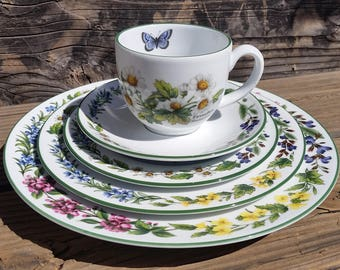 Royal Worcester Herbs Green Trim 5 Piece Place Setting Dish Set NEW in Box