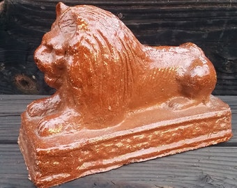 Antique Redware Pottery Sewer Tile Recumbent Lion Statue