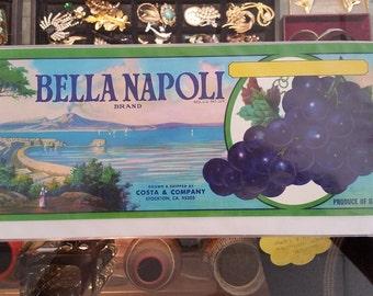Vintage Bella Napoli Grape Crate Label