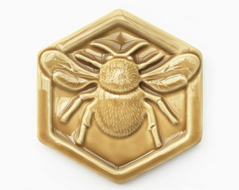 Ready to Ship Bumblebee Ceramic Tile / Handmade Bumblebee Tile  / Bumblebee Backsplash / Bumblebee Accent Tile / Bumblebee Fireplace Tile
